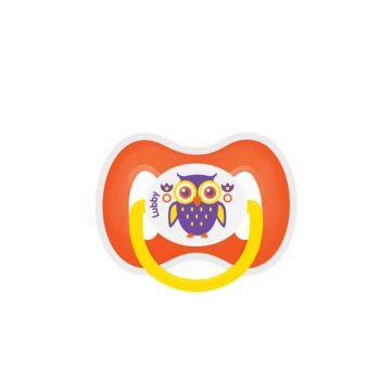 Пустышка Lubby Русские мотивы со скошенным соском (от 0 мес.) (Оранжевый)