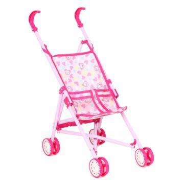 Коляска-трость для куклы Игруша 886A (Розовый/мишки/сердечки)