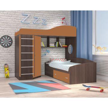 Кровать двухъярусная Ярофф Кадет 2 с металлической лестницей (бодего темный/вишня оксфорд)