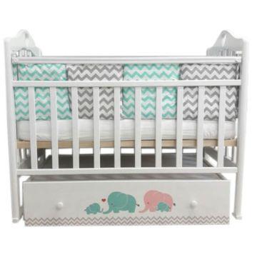 Кроватка детская by Twinz Мэри с поперечным маятником (бирюза/розовый)