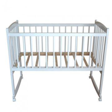Кроватка детская Массив Беби 1 (качалка-колесо) (белый)