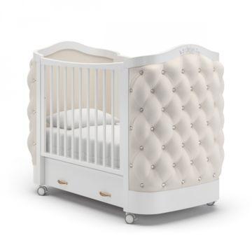 Кроватка детская Гандылян Тиффани со стразами (колесо) Белый