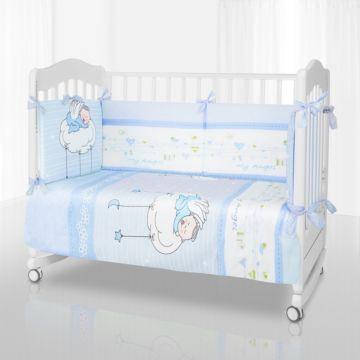 Комплект постельного белья Pituso My Angel (6 предметов, хлопок/сатин/бязь) (Голубой)