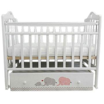 Кроватка детская by Twinz Мэри с поперечным маятником (серый/розовый)
