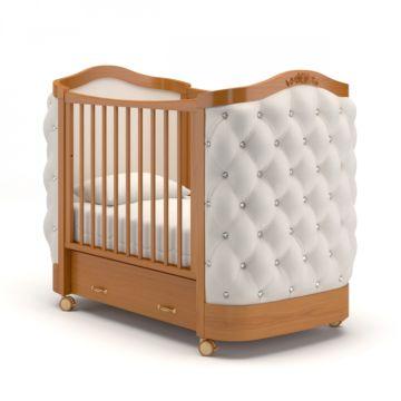 Кроватка детская Гандылян Тиффани со стразами (колесо) Вишня