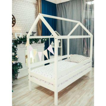 Кроватка-домик Мир Мебели массив сосны (белая)