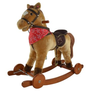 Качалка-лошадь Pituso Fandango с колесами (бежево-коричневая)