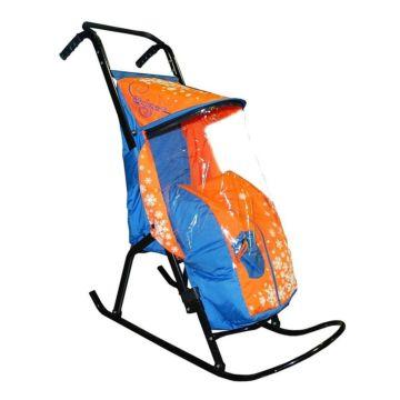 Санки-коляска RT Снегурочка 2-Р1 Снежинки (голубой-оранжевый)