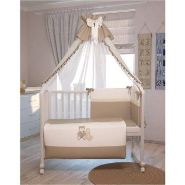 Комплект постельного белья Polini Мишки 120х60см (7 предметов, хлопок) (бежевый)