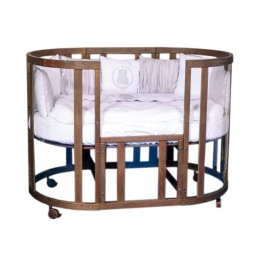 Кроватка-трансформер Incanto Estel Acqua 10 в 1 (темный орех с золотой патиной)