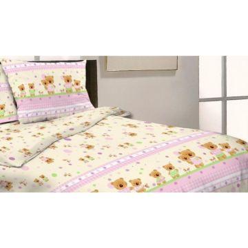 Комплект постельного белья Happy Dreams Мишки и Зайки 120х60см (7 предметов, хлопок) (сиреневый)