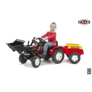 Трактор-экскаватор Falk педальный с прицепом (красный)