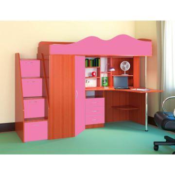 Кровать-чердак Ярофф Пионер (вишня оксфорд/розовый)