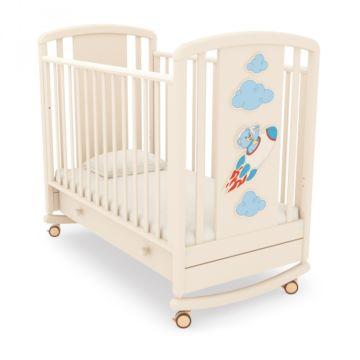 Кроватка детская Angela Bella Жаклин Мишка на ракете (качалка-колесо) (слоновая кость)