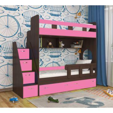 Кровать двухъярусная Ярофф Юниор-1 (венге темный/розовый)