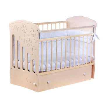 Кроватка детская Островок Уюта Бабочка (поперечный маятник) (слоновая кость)