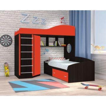 Кровать двухъярусная Ярофф Кадет 2 с металлической лестницей (венге темный/красный)