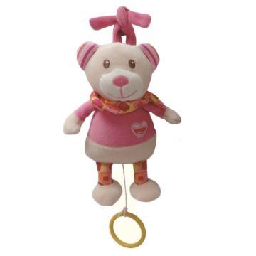 Развивающая игрушка-подвеска I-Baby Мишка с кольцом розовый