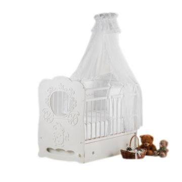 Кроватка детская Островок Уюта Карета (поперечный маятник) (белый)