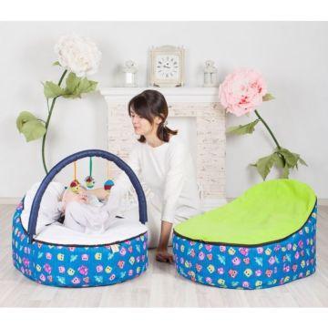 Кокон для новорожденных Feter Baby Bean Bag с игрушками (сине-зеленый)