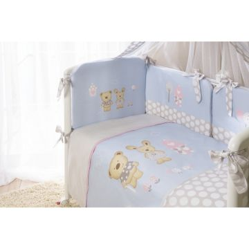 Комплект постельного белья Perina Венеция 105х170см (4 предмета, хлопок/сатин) (Голубой)
