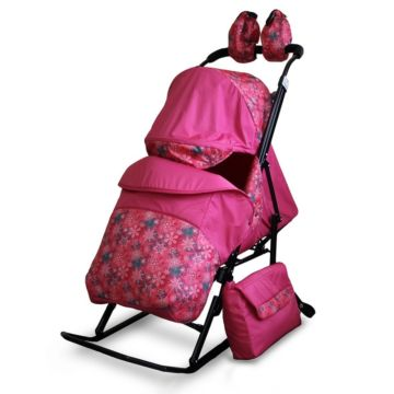 Санки-коляска Kristy Comfort Plus (снежинки/розовый)