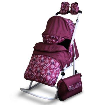 Санки-коляска Kristy Comfort Plus (снежинки/бордовый)