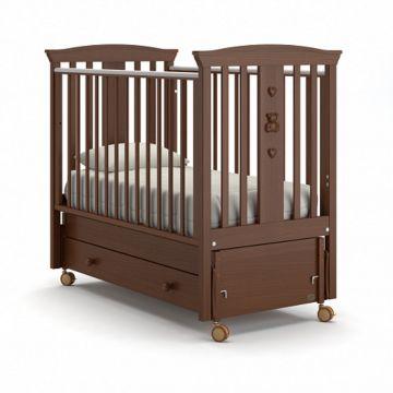 Кроватка детская Nuovita Fasto Swing (продольный маятник) (темный орех)