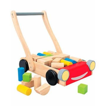 Развивающая игрушка PlanToys Тележка с блоками