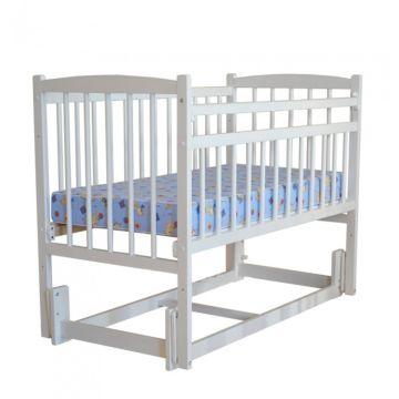 Кроватка детская Массив Беби 3 (продольный маятник) (белый)
