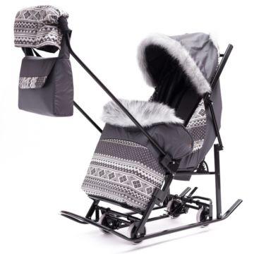 Санки-коляска Kristy Premium Plus ВК (серый)