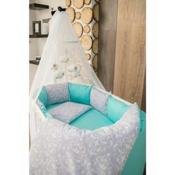 Комплект белья для овальной кроватки by Twinz (15 предметов, хлопок) (мята)