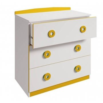 Детский комод Polini Simple 3090 (бело-желтый)