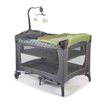 Манеж-кровать Baby Trend с пеленальной доской (серый/зеленый)