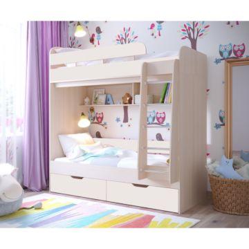 Кровать двухъярусная Ярофф Юниор-5 (дуб молочный/белое дерево)