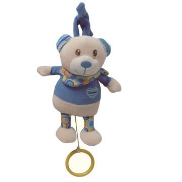 Развивающая игрушка-подвеска I-Baby Мишка с кольцом синий