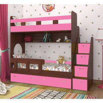 Кровать двухъярусная Ярофф Юниор-1 (бодего темный/розовый)