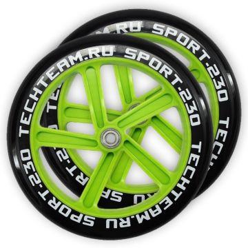 Набор колес и подшипников для самоката TechTeam 230 мм (зеленый)
