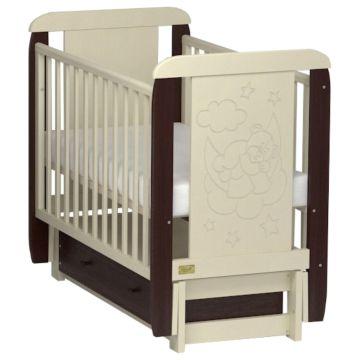 Кроватка Kitelli Orsetto (продольный маятник с ящиком) (Бежево-коричневый)