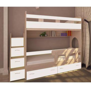 Кровать двухъярусная Ярофф Юниор-1 (дуб молочный/белое дерево)