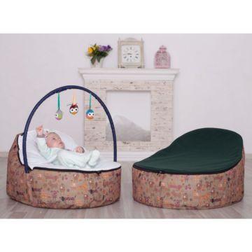 Кокон для новорожденных Feter Baby Bean Bag с игрушками (бежево-зеленый)