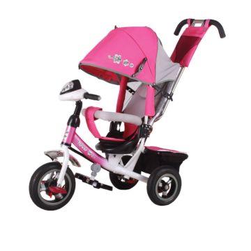 """Трехколесный велосипед Trike Flower с надувными колесами 10"""" и 8"""" с фарой (розовый)"""