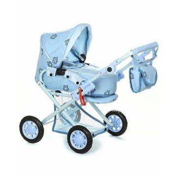 Коляска для куклы Wakart Магда (голубая)