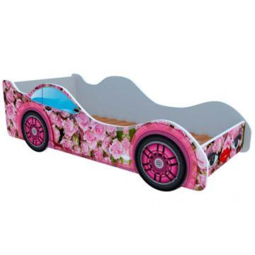 Кровать-машина Кроватка5 Машинки (Розовые розы)
