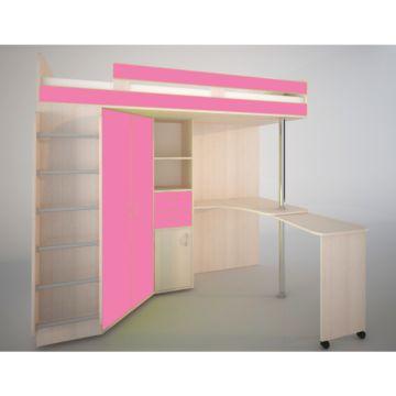 Кровать-чердак Ярофф Юниор-3 (дуб молочный/розовый)