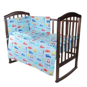 Комплект постельного белья Baby Care 140х110см (6 предметов, хлопок) Машинки
