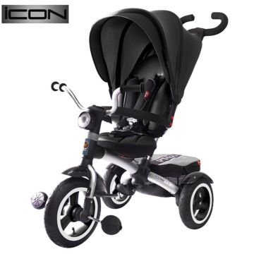"""Трехколесный велосипед RT Icon 6 Luxe Aluminium с надувными колесами 11"""" и 10"""" (черный)"""
