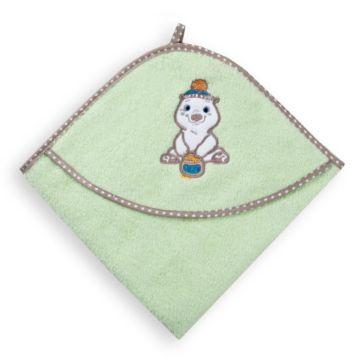 Полотенце с уголком Baby Care Мишка с медом 80х77см (зеленое)