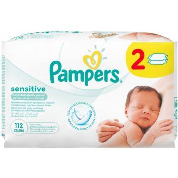 Влажные салфетки для детей Pampers Sensitive сменный блок 2х56 шт