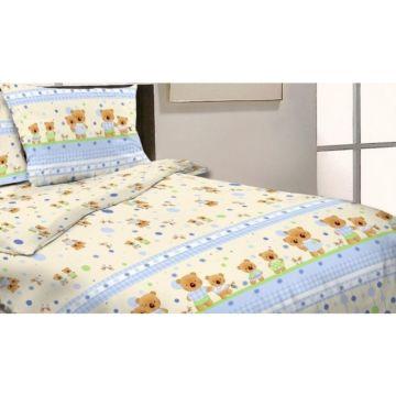 Комплект постельного белья Happy Dreams Мишки и Зайки 120х60см (7 предметов, хлопок) (голубой)